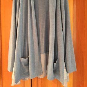 Jackets & Blazers - Polka dots detail blue and tan sweater jacket